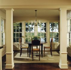 love all the windows in this dining room