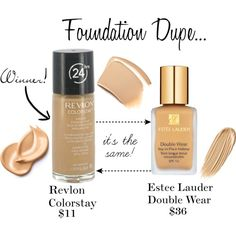 """Foundation Dupe..., created by sweetlikecandycane on Polyvore So True ! I""""m not a Revlon fan, but I've tried the Revlon Colorstay...and it was some good long wearing makeup!"""