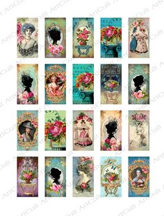 ROCOCO DOMINOES  Digital Collage Sheet for pendants by ArtCult, $4.60
