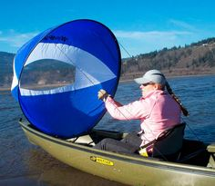 Kayak Hacks The Cruiser WindPaddle Sail making paddling canoes and tandem kayaks a breeze in strong winds! Canoe Camping, Canoe And Kayak, Camping Survival, Camping And Hiking, Kayak Fishing, Camping Gear, Fishing Cart, Luxury Camping, Outdoor Fun