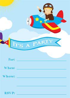 Kids Party Supplies: Pilot Party Invitation Free DIY Printable
