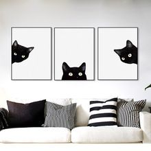 3 Piece Black Cats Head Modern Cute Animal Canvas A4 Print Poster Nordic Wall Art Picture Painting No Frame Kids Room Home Decor(China (Mainland))