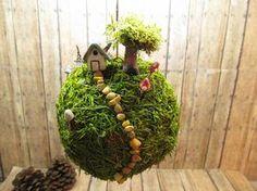 XL Planet Moss - Hanging moss ball - mobile - Miniature planet with raku fired house and glow in the dark mushrooms- handmade by Gypsy Raku