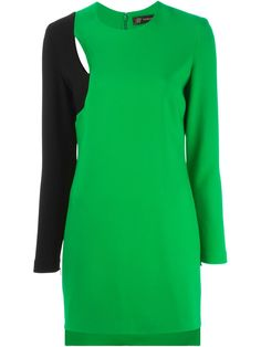 Versace Green and Black Long Sleeve Colorblock Cut Out Dress