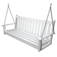 The Polywood Vineyard Recycled Plastic 5 ft. Porch Swing is perfect for your taste. We tend to believe that a front porch just isn't complete until. Porch Swing Frame, Bench Swing, Swing Chairs, Swing Seat, Rocking Chairs, Diy Outdoor Furniture, Outdoor Decor, Outdoor Living, White Porch