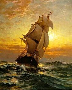 Sailing Ship on the Open Sea- Edward Moran.