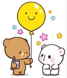 Cute Cartoon Images, Cute Couple Cartoon, Cute Cartoon Wallpapers, Cute Love Pictures, Cute Love Gif, Cute Bear Drawings, Kawaii Drawings, Stickers Kawaii, Cute Stickers