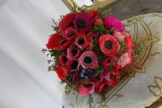 Flower Design Events: Anemone Bridal Bouquet in Hot Pink & Red