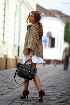 polka dot parka and marsala heels from @jessicabuurman | Sandra Bendre
