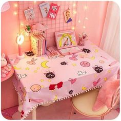 Want to create an inspired Kawaii Sailor Moon room? If your answer is yes then this table cloth is a yes yes! If your looking to take your room's decor to the next level of … Dream Rooms, Dream Bedroom, Girls Bedroom, Bedroom Decor, Bedroom Furniture, Bedrooms, Trendy Bedroom, Bedroom Ideas, Cute Room Ideas