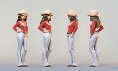 ArtStation - Cowgirl, Charles Ellison Lineup, White Jeans, 3d Cartoon, Cartoon Characters, Cgi, Wild West, Digital, Artwork, Animation