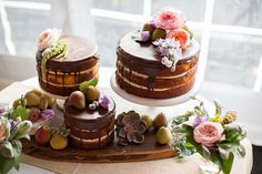 Naked Cakes with Chocolate Ganache, Pears  Fresh Flowers.  Photographed by Jeff from @bcpteam Brooke Courtney Photography.