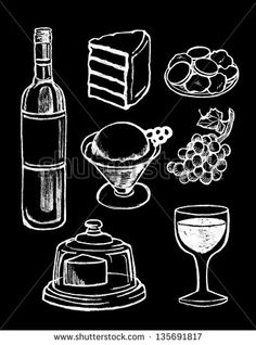 Chalkboard hand drawn menu vector food icons set, dessert