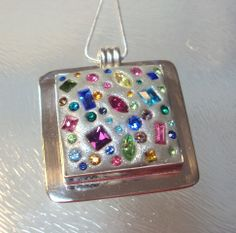 Swarovski Crystal Clay Pendant with chain by RusticPath on Etsy, $40.00