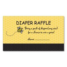 Cute Bumble Bees Diaper Raffle Tickets| Business Card Templates