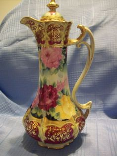 "13""Tall Gorgeous Hand Painted Nippon Rose Chocolate Pot, Royal from lucy53 on Ruby Lane"