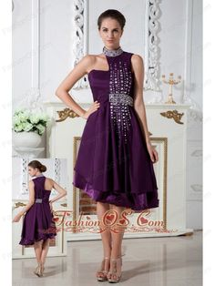 Dark Purple Empire Asymmetrical Prom Dress Knee-length Chiffon Beading- $136.89  http://www.fashionos.com   short prom dress with low cost | cheap prom dress with great discount | terrific prom dress ready to ship | sleeveless dress with fitted bodice | pretty prom dress for formal party | short prom dress for cheap |