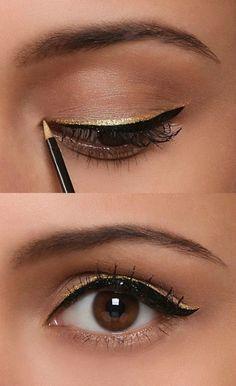 Mascara   black eyeliner   golden eyeliner = this beautiful look for holiday dinner,