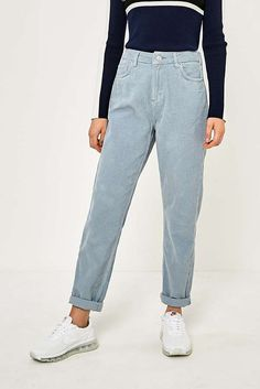 Slide View: 1: BDG Mom Sky Blue Corduroy Jeans