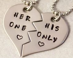 Her One His Only Necklaces - Girlfriend Boyfriend Gift - Couples Jewelry - Hand Stamped His and Her Necklaces - Stainless Steel on Etsy, $25.00