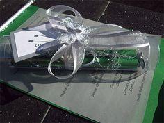 Ref Scroll In Tube Green ( We can do any colour) www.weddingcards.co.za Wedding Cards Handmade, Traditional Wedding, Tube, Wedding Invitations, Gift Wrapping, Colour, Green, Prints, Gift Wrapping Paper