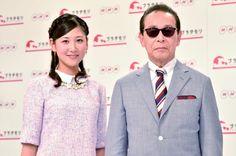 「ブラタモリ」に出演するタモリと、桑子真帆NHKアナウンサー(左)。