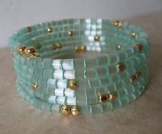 Memory Wire Coil Bracelet - Light Aqua