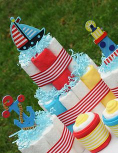 Nautical Themed Diaper Cake Set-5 Piece Baby Shower Gift/Centerpieces