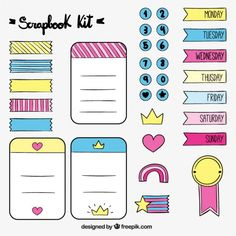Hand drawn lovely accessories for scrapbook Free Vector Bullet Journal School, Bullet Journal Writing, Bullet Journal Ideas Pages, Bullet Journal Inspiration, Printable Planner Stickers, Journal Stickers, Good Notes, Note Paper, Cute Stickers