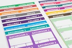 The Well-Planned Move: Moving Labels kit is a complete color-coded moving label system with 360 colored labels, room signs, and important and priority box labels. Dining Room Office, Kitchen Office, Living Room Kitchen, Moving Labels, Office Office, Colored Labels, Master Room, Moving Tips, Moving House