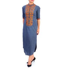 Grey Cotton Hand Embroidered Straight Cut Long Dress