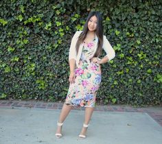 Bright Peonie Plunge Pencil Dress - Tia Alese Wong | Sunday Best | Church Outfit | Modest | Midi Dress | Floral dress | Lds | Mormon | Modest church dress | Church Dress