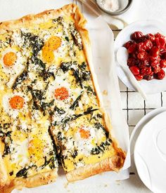 Australian Gourmet Traveller breakfast recipe for egg, spinach, rocket and feta breakfast tart.