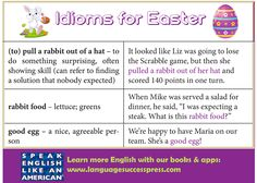 The Easter Bunny brings you three great idioms! Happy #Easter.