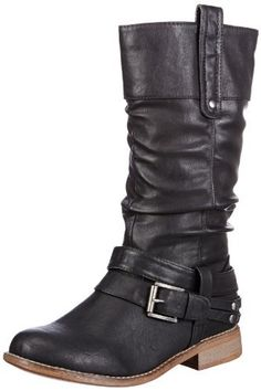 Rieker Mid Height Rouch Boot 95672-00  Buy online at www.schoose.co.uk Calf Boots, Shoe Boots, Shoe Bag, Shoes, Long Boots, Black Boots, Womens Biker Boots, Mode Style, Partner