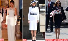 First Lady changes into her THIRD glamorous ensemble as she dazzles in Dior evening gown Evening Gowns With Sleeves, White Evening Gowns, Pleated Midi Skirt, High Waisted Skirt, The Royal Collection, First Lady Melania Trump, Dress Suits, Fashion History, White Evening Dresses
