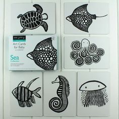 Black And White Flash Cards Sea Animals