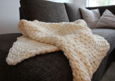 Easy blanket    We knitted this in two short evenings. Perfect to cuddle up with in the sofa or balcony!