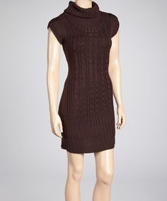 Take a look at this She's Cool Brown Cable Knit Turtleneck Sweater Dress on zulily today!