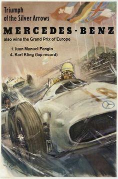 mercedes benz fangio karl kling grand prix europe silver arrows : antique vintage posters