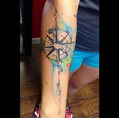Compass watercolour tattoo