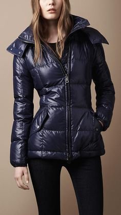 Burberry Brit Hooded Quilted Coat