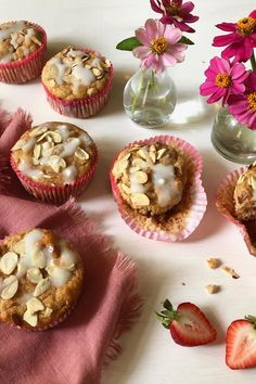 Moms, give yourself a much-needed gift. Bake up a batch of these muffins, stash them in the freezer, and make your busy mornings a whole . Cooking Light Recipes, Baking Recipes, Healthy Breakfast Recipes, Brunch Recipes, Healthy Recipes, Almond Muffins, Gluten Free Muffins, Muffin Recipes, Coffee Cake