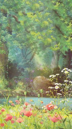 Forest and red flowers illustration art painting anime scenery wallpaper, nature wallpaper, Art Studio Ghibli, Anime Scenery Wallpaper, Nature Wallpaper, Forest Wallpaper, Gothic Wallpaper, Beautiful Wallpaper, Landscape Wallpaper, Wallpaper Desktop, Anime Kunst