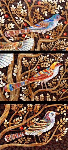 Мозаичные птицы фрагмент панно Дерево жизни