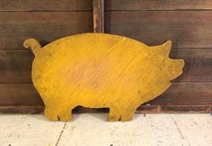 Primitive Antique, Pig Shaped, Wood Cutting Board, Mustard Yellow Paint, Wooden Farm Animal, Farmhouse Antique, Antique Kitchen, Vintage Kitchen, Primitive Kitchen, Wall Art Décor, Wood Cut Out, Chopping Block _______________________________  Fabulous primitive wood cutting board, in the shape of a pig, with amazing yellow paint and just the right primitive or farmhouse patina. This is a piece of folk art. The woman who sold it to me said her father made it in wood shop around 1930, and the…