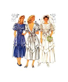 Formal or Wedding Dress Midi or Maxi by RedcurlzsPatterns Brides And Bridesmaids, Bridesmaid Dresses, Bridal Gowns, Wedding Gowns, Modern Sewing Patterns, Tiered Skirts, Fitted Bodice, One Pic, Vintage Outfits