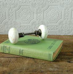 Antique milk glass door knob set by OliverandRust on Etsy, $18.00 SOLD