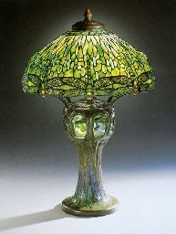"""Drop head Dragonfly"" shade with mosaic base by LCT. Stained Glass Lamps, Leaded Glass, Mosaic Glass, Tiffany Art, Tiffany Glass, Antique Lamps, Vintage Lamps, Retro Lamp, Art Deco Lamps"