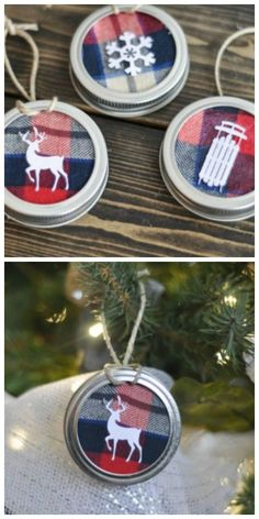 Mason Jar Lid Tree Ornaments- Turn an old flannel shirt, Mason jar lids, and cardstock into these perfectly rustic ornaments. Get the tutorial at Suburble.